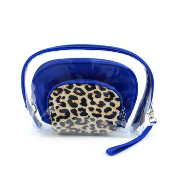 Ladies Clear & Leopard Pattern Makeup Bag 3pc Set Cosmetic & Toiletry Bags  LNCTB1702-Leopard