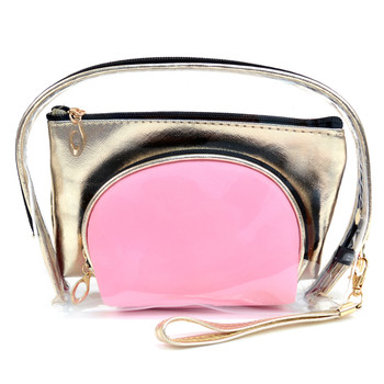 Ladies Clear & Gold Color Makeup Bag 3pc Set Cosmetic & Toiletry Bags  LNCTB1703