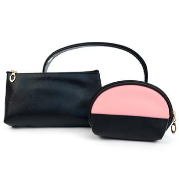 Ladies Clear & Black Makeup Bag 3pc Set Cosmetic & Toiletry Bags  LNCTB1705