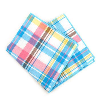 12pc Cotton Plaid Pocket Square Handkerchiefs - CH1715