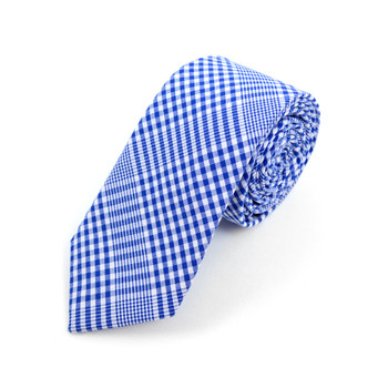 "Men's Royal Blue Plaid 2.25"" Cotton Slim Tie - MPPW1711"
