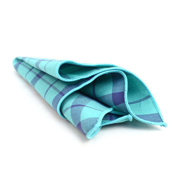 12pc Cotton Plaid Pocket Square Handkerchiefs - CH1720