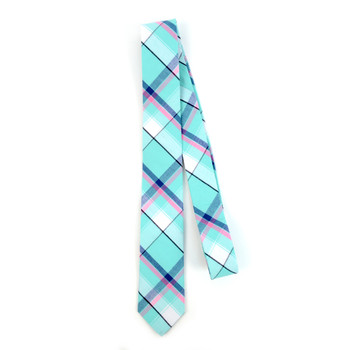 "Men's Turquoise Plaid 2.25"" Cotton Slim Tie - MPPW1712"