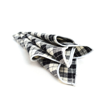 12pc Black & Beige 100% Cotton Checkered Plaid Pocket Square Handkerchiefs - CH1721