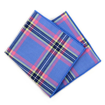 12pc Cotton Plaid Pocket Square Handkerchiefs - CH1724