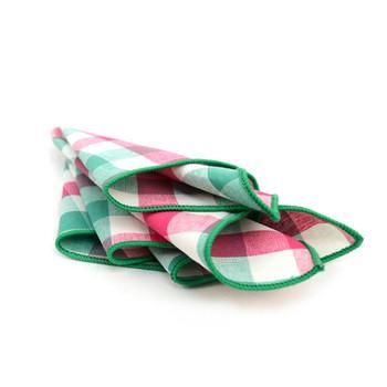12pc Pink & Green 100% Cotton Check Pocket Square Handkerchiefs - CH1727