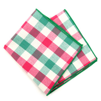 12pc Cotton Check Pocket Square Handkerchiefs - CH1727