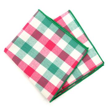 12pc Cotton Check Pocket Square Handkerchiefs - CH1727