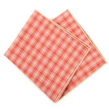 12pc Peach Color 100% Cotton Plaid Pocket Square Handkerchiefs - CH1729