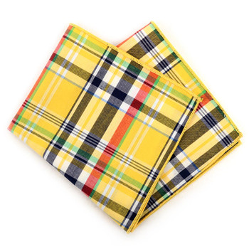 12pc Cotton Plaid Pocket Square Handkerchiefs - CH1731