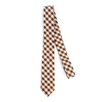 """Men's Brown Beige Plaid 2.25"""" Cotton Slim Tie - MPPW1719"""