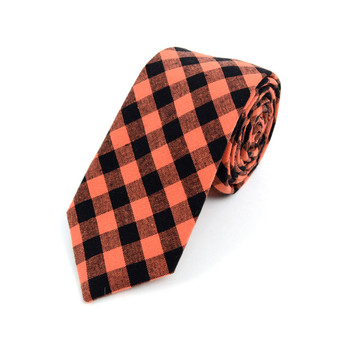 "Men's Orange Black Plaid 2.25"" Cotton Slim Tie - MPPW1721"