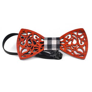 Men's Wooden Bow Tie, Plaid Fabric Centerpiece with Elastic Adjustable Strap - WBT1711
