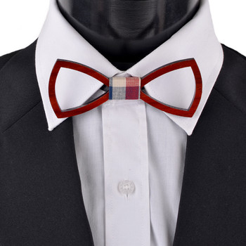 Men's Wooden Bow Tie, Plaid Fabric Centerpiece with Elastic Adjustable Strap - WBT1712
