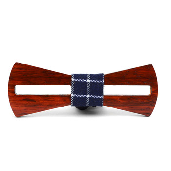 Men's Wooden Bow Tie, Plaid Fabric Centerpiece with Elastic Adjustable Strap - WBT1713