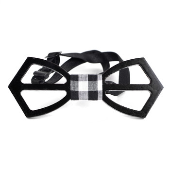 Men's Wooden Bow Tie, Plaid Fabric Centerpiece with Elastic Adjustable Strap - WBT1715