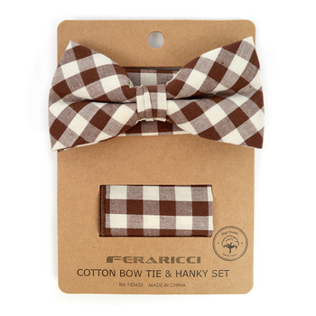 Men's Brown Beige Plaid Cotton Bow Tie & Matching Pocket Square - CBTH1717