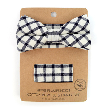 Men's Black Beige Plaid Cotton Bow Tie & Matching Pocket Square - CBTH1713