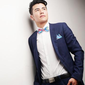 Men's Pastel Colors Plaid Cotton Bow Tie & Matching Pocket Square - CBTH1715