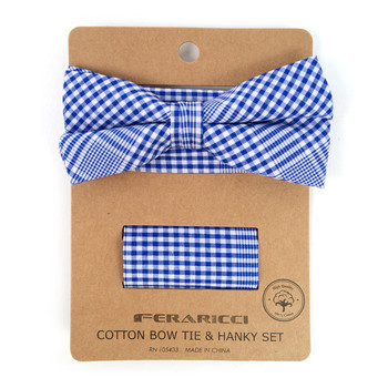 Men's Blue Plaid Cotton Bow Tie & Matching Pocket Square - CBTH1716