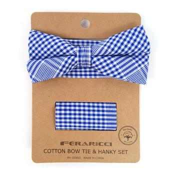 Men's Blue Plaid Cotton Bow Tie & Matching Pocket Square - CBTH1716