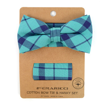 Men's Turquoise Plaid Cotton Bow Tie & Matching Pocket Square - CBTH1720