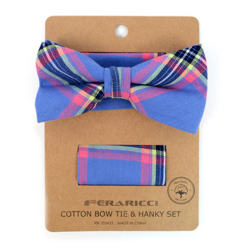 Men's Blue Plaid Cotton Bow Tie & Matching Pocket Square - CBTH1724