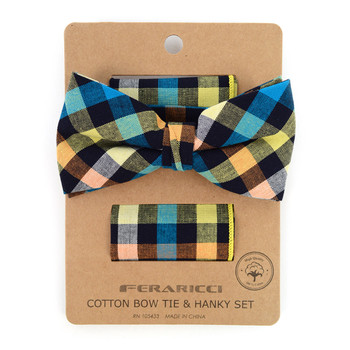 Men's Multi Color Plaid Cotton Bow Tie & Matching Pocket Square - CBTH1726