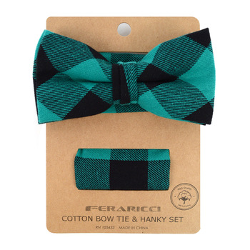 Men's Green Plaid Cotton Bow Tie & Matching Pocket Square - CBTH1730