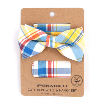 Men's Yellow Plaid Cotton Bow Tie & Matching Pocket Square - CBTH1731