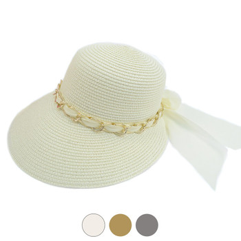 Women's Chain & Chiffon Band Small Back Floppy Sun Hat LFH1893