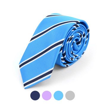 "Striped Microfiber Poly Woven 2.25"" Slim Tie - MPWS5902"