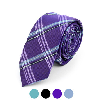 "Plaid Microfiber Poly Woven 2.25"" Slim Tie - MPWS5906"