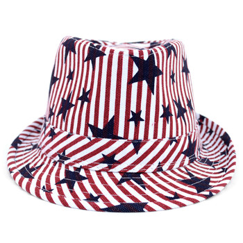 Spring/Summer Stars & Stripes American Flag Fedora Hat - H10401