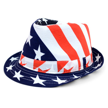 Spring/Summer Stars & Stripes American Flag Fedora Hat - H10402