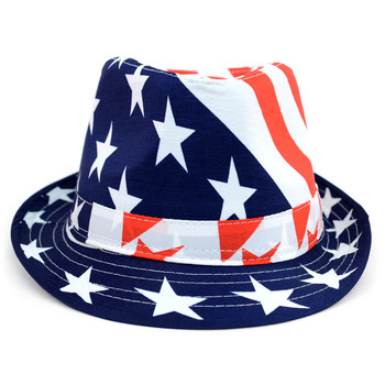 Spring/Summer Stars & Stripes American Flag Fedora Hat - H10402