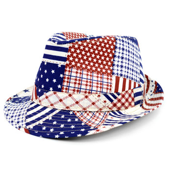 Spring/Summer Mix Pattern Design American Flag Fedora Hat - H10411