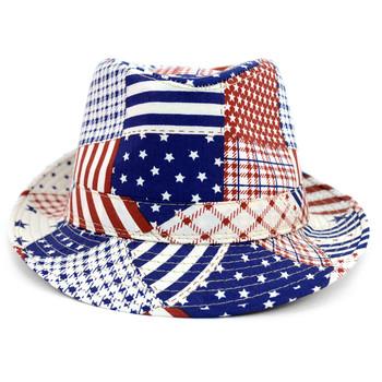 Spring/Summer Mix Pattern Design American Flag Fedora Hat - H10411