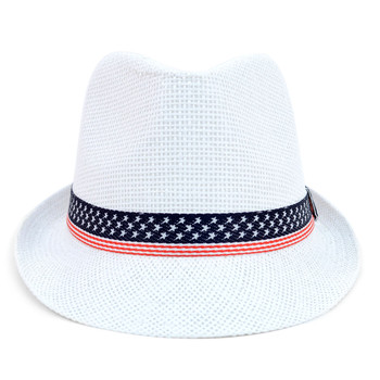 Spring/Summer White Fedora Hat with Stars & Stripes American Flag Band Trim - H10412