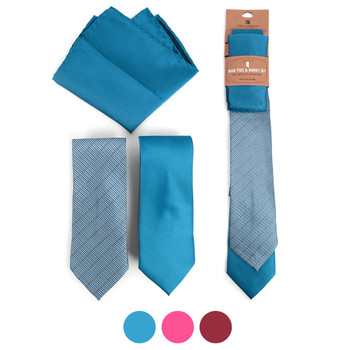 Geometric & Solid Microfiber Poly Woven Two Ties & Hanky Set - TH2X-1