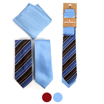 Striped & Solid Microfiber Poly Woven Two Ties & Hanky Set - TH2X-8