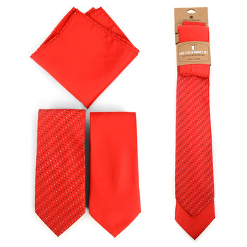 Dots & Solid Red Microfiber Poly Woven Two Ties & Hanky Set - TH2X-RD2