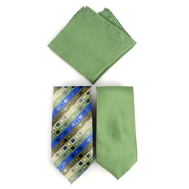 Geometric & Solid  Microfiber Poly Woven Two Ties & Hanky Set - TH2X-14