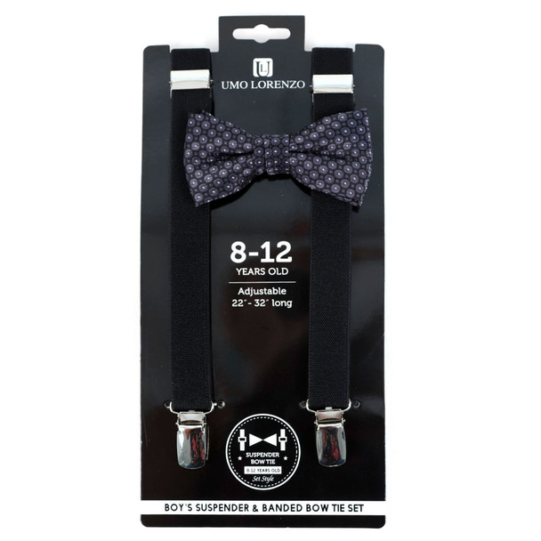 Boy's Black Clip-on Suspender & Striped Bow Tie Set - BSBS-BK3