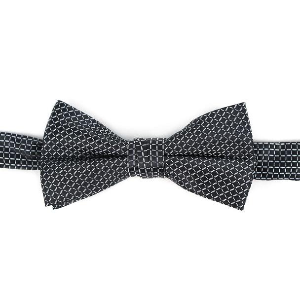 Boy's Black Clip-on Suspender & Plaid Bow Tie Set - BSBS-BK4