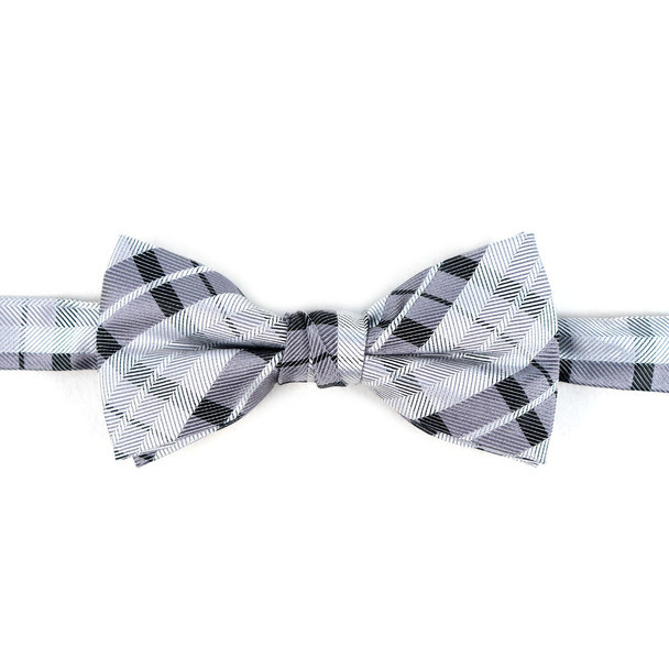 Boy's Gray Clip-on Suspender & Plaid Bow Tie Set - BSBS-GRY1