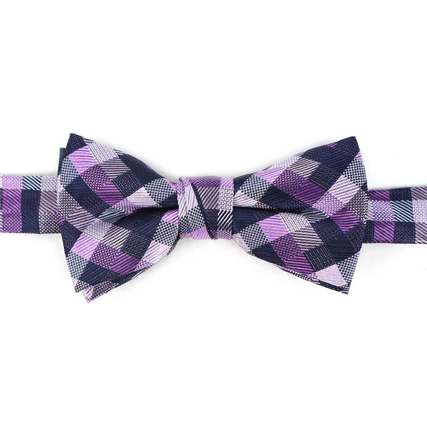 Boy's Purple Clip-on Suspender & Dots Bow Tie Set - BSBS-PUR1