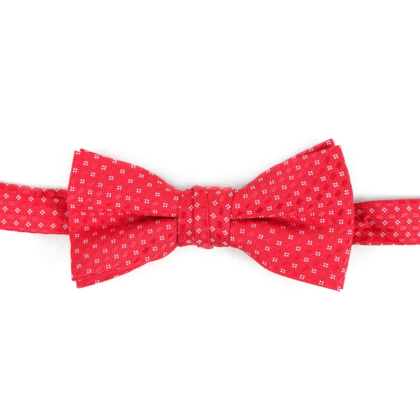 Boy's Red Clip-on Suspender & Striped Bow Tie Set - BSBS-RD2