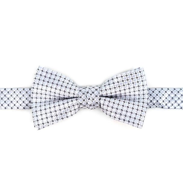 Boy's White Clip-on Suspender & Striped Bow Tie Set - BSBS-WH1