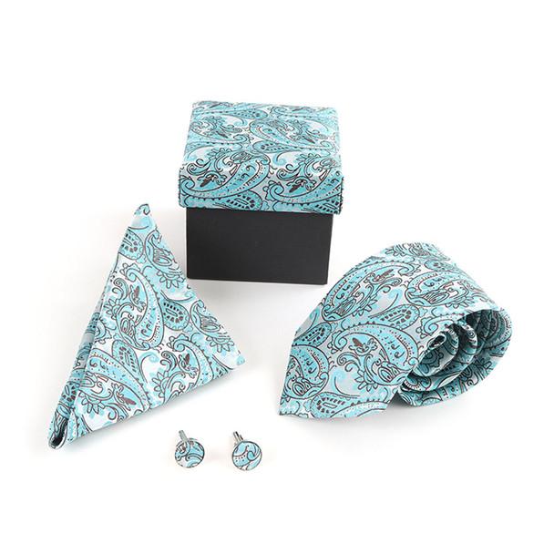 12pc Paisley Poly Woven Tie, Hanky & Cufflink Set PWFB3812